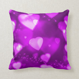 Endless Floating Sparkly Hearts Throw Pillow