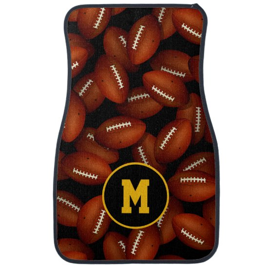 Endless footballs pattern fall sports monogrammed car floor mat