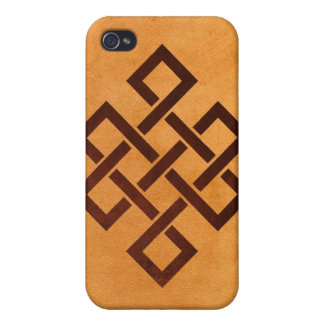 Endless Knot and Yellow Falsh Leather Iphone4 Case iPhone 4 Covers