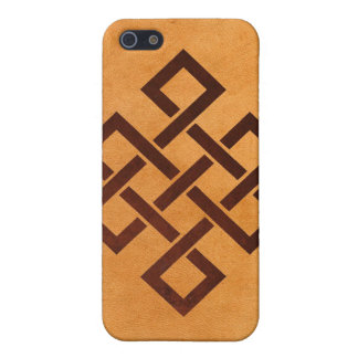 Endless Knot and Yellow Falsh Leather Iphone4 Case Cover For iPhone 5