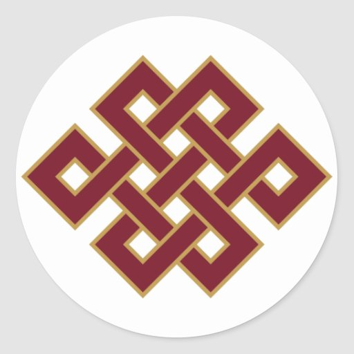Endless Knot on White Classic Round Sticker