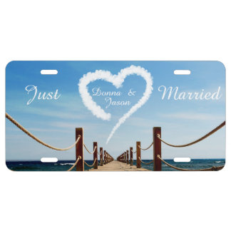 Endless Path w/ Heart Cloud Wedding License Plate