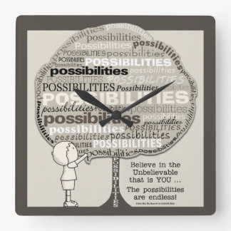Endless Possibilities Square Wall Clock