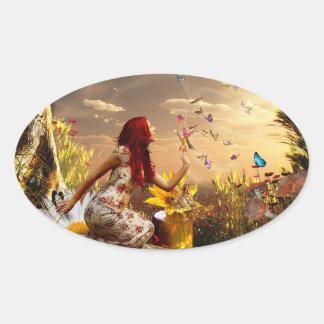 Endless summer butterfly dance oval sticker