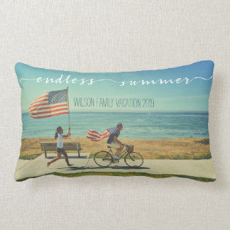 Endless Summer Typography Family Vacation Photos Lumbar Pillow