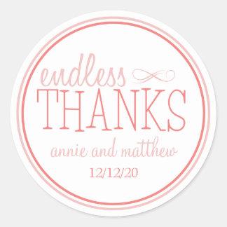 Endless Thanks Labels (Blush / Terra Cotta) Round Sticker