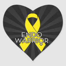 Endo Warrior Endometriosis Awareness Yellow Ribbon Heart Sticker