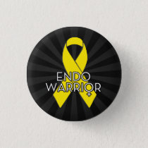 Endo Warrior Endometriosis Awareness Yellow Ribbon Pinback Button