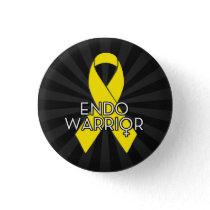 Endo Warrior Endometriosis Awareness Yellow Ribbon Pinback Button