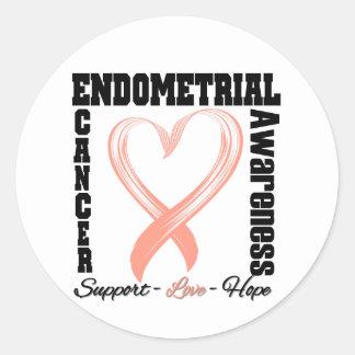 Endometrial Cancer Awareness Brushed Heart Ribbon Round Sticker
