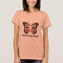 Endometrial Cancer Awareness Butterfly Ribbon T-Shirt