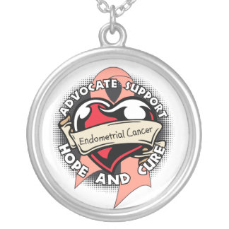 Endometrial Cancer Awareness Heart Ribbon Round Pendant Necklace