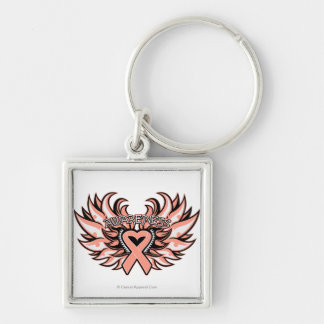 Endometrial Cancer Awareness Heart Wings.png Keychain