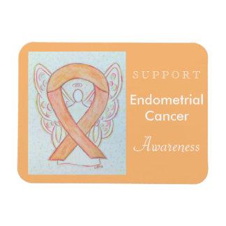 Endometrial Cancer Awareness Ribbon Angel Magnets