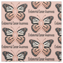 Endometrial Cancer Butterfly Awareness Ribbon Fabric