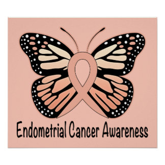 Endometrial Cancer Butterfly Awareness Ribbon Poster