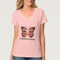 Endometrial Cancer Butterfly Awareness Ribbon T-Shirt