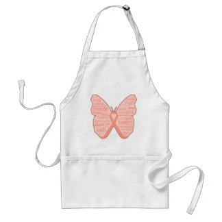 Endometrial Cancer Butterfly Collage of Words Apron