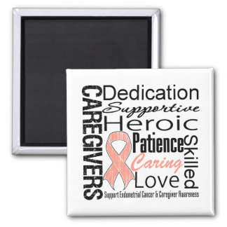 Endometrial Cancer Caregivers Collage 2 Inch Square Magnet
