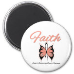 Endometrial Cancer Faith Butterfly Ribbon Magnets
