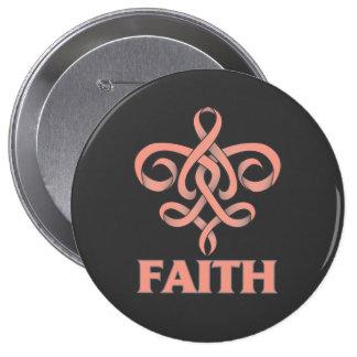 Endometrial Cancer Faith Fleur de Lis Ribbon Pinback Button