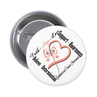 Endometrial Cancer Faith Hope Love Butterfly 2 Inch Round Button