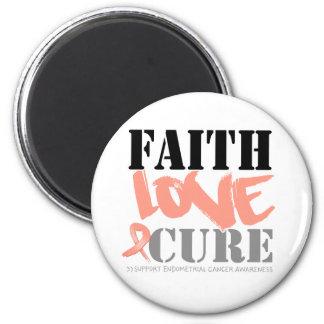 Endometrial Cancer Faith Love Cure 2 Inch Round Magnet
