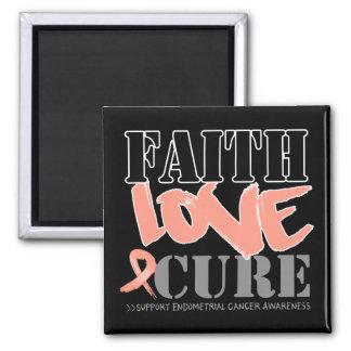 Endometrial Cancer Faith Love Cure 2 Inch Square Magnet