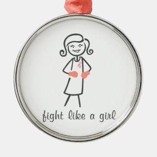 Endometrial Cancer Fight Like A Girl (Retro) Christmas Ornaments