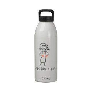 Endometrial Cancer Fight Like A Girl (Retro) Reusable Water Bottles