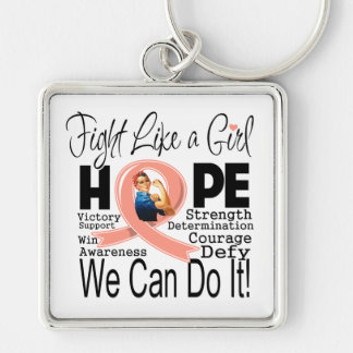 Endometrial Cancer Fight We Can Do It Silver-Colored Square Keychain