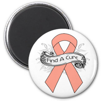 Endometrial Cancer Find A Cure Ribbon 2 Inch Round Magnet