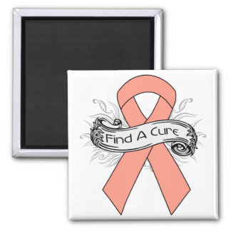 Endometrial Cancer Find A Cure Ribbon 2 Inch Square Magnet