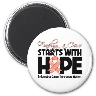 Endometrial Cancer Finding a Cure Starts With Hope 2 Inch Round Magnet