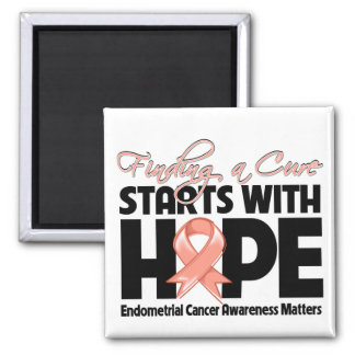 Endometrial Cancer Finding a Cure Starts With Hope 2 Inch Square Magnet