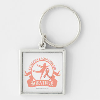 Endometrial Cancer - Freedom From Cancer Survivor Silver-Colored Square Keychain