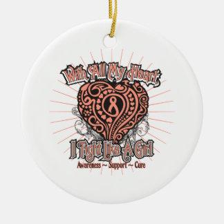 Endometrial Cancer Heart I Fight Like A Girl Ornament