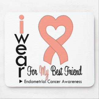 Endometrial Cancer Heart Ribbon BEST FRIEND Mouse Pad