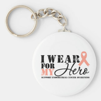 Endometrial Cancer Hero Ribbon Basic Round Button Keychain