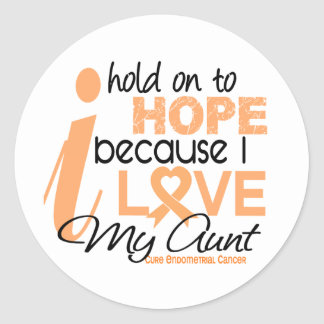 Endometrial Cancer Hold On To Hope For My Aunt Round Sticker
