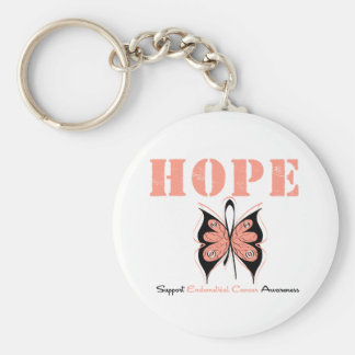Endometrial Cancer Hope Butterfly Basic Round Button Keychain