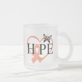 Endometrial Cancer Hope Butterfly Heart Décor 10 Oz Frosted Glass Coffee Mug
