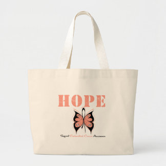Endometrial Cancer Hope Butterfly Large Tote Bag