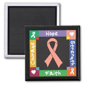 Endometrial Cancer Hope Strength Faith 2 Inch Square Magnet
