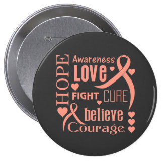 Endometrial Cancer Hope Words Collage Button