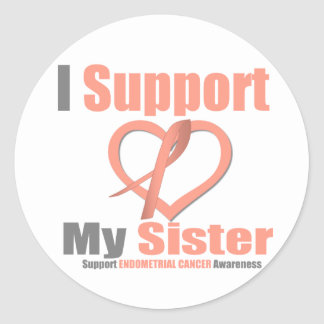 Endometrial Cancer I Support My Sister Round Stickers