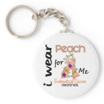 Endometrial Cancer I Wear Peach For Me 43 Basic Round Button Keychain