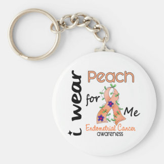 Endometrial Cancer I Wear Peach For Me 43 Basic Round Button Keychain
