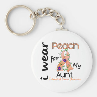 Endometrial Cancer I Wear Peach For My Aunt 43 Basic Round Button Keychain