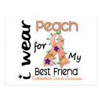 Endometrial Cancer I Wear Peach For My Best Friend Postcard